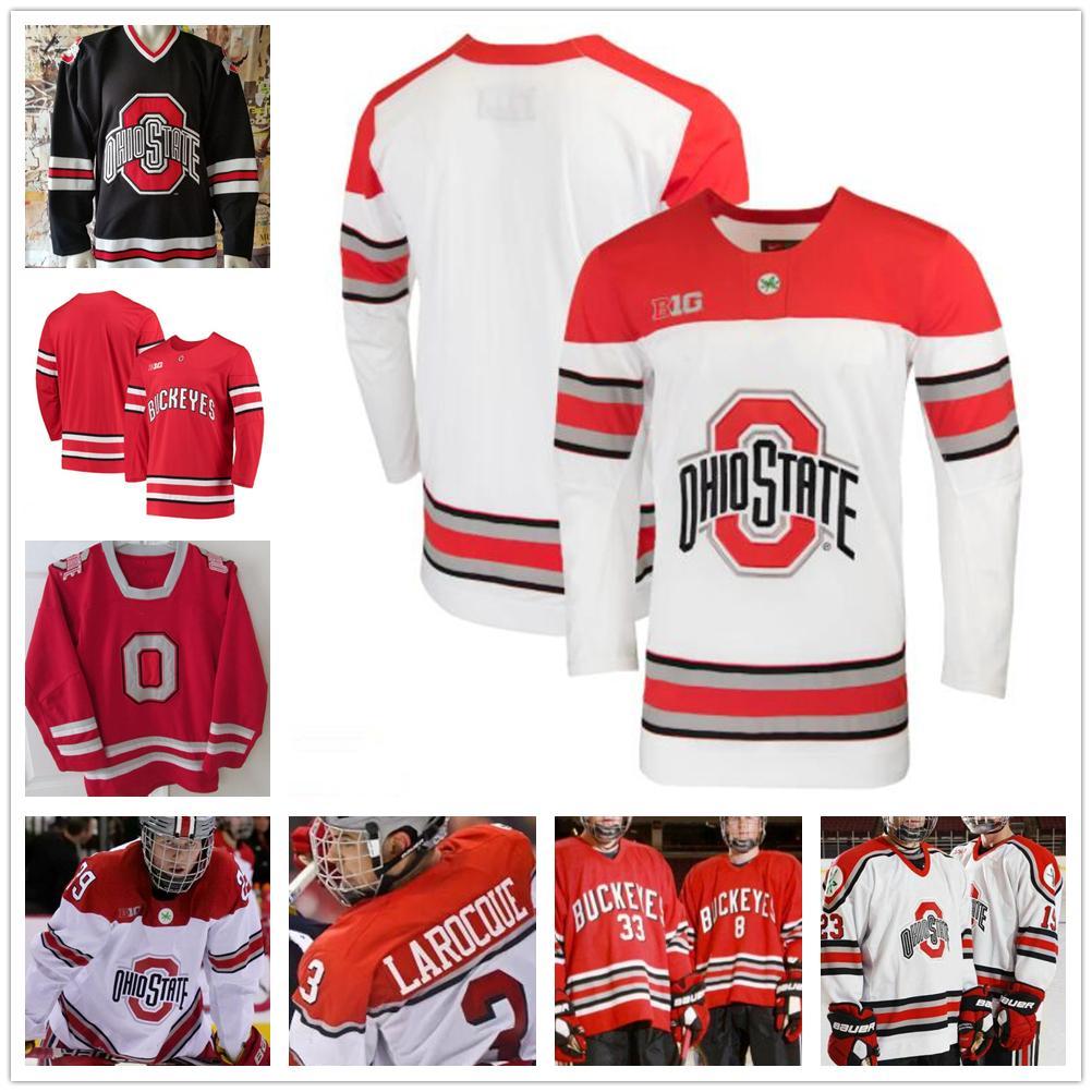 Пользовательские NCAA штата Огайо Buckeyes 7 Wyatt Эге 27 Люка Аист в хоккее на лед Джерси Персонализированного вышивки колледжа Big Ten прошитых Трикотажный