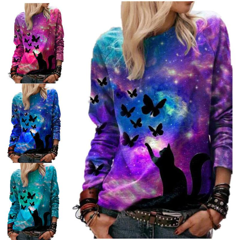 Женщины свитер дизайнер 3d Звездное Cat бабочки Printed Tops градиент цвета Повседневный длинным рукавом дамы Новая мода футболки Одежда