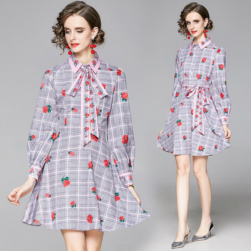 2021 Straßenstil Runway Mode Designer Damen Gedruckt Revers Sash Bow Mini Kleider Sexy Frauen Button Front A-Line Shirt Büro Party Kleid