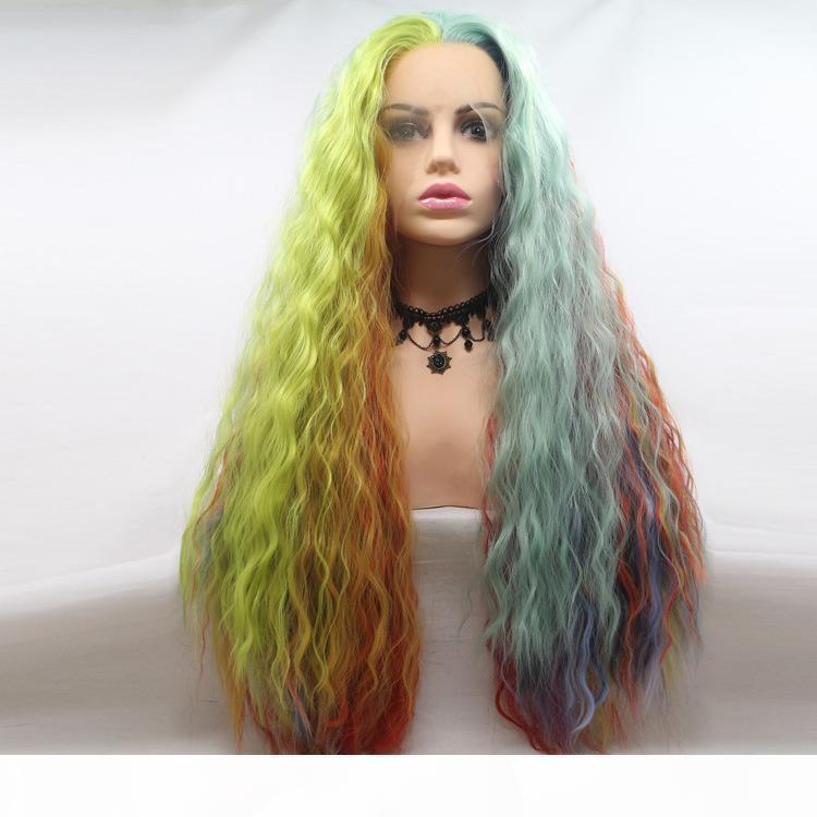 Multicolor Largas pelucas rizadas Sintéticas Pelucas delanteras Ace para las mujeres Peluca de fibra resistente al calor del pelo, Cosplay Fairy Witch Sirena