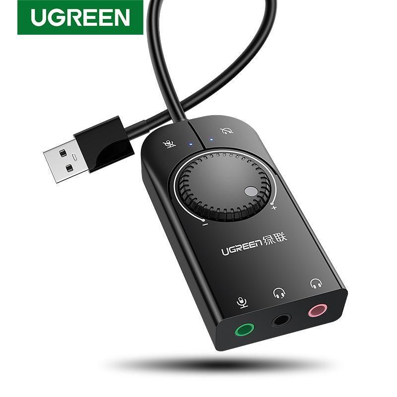 Tarjeta de sonido Ugreen Interfaz de audio USB externa 3.5mm Micrófono Adaptador de audio Audio Card para Laptop PS4 Auriculares Tarjeta de sonido USB