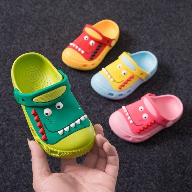 Suihyung Kids Summer Beach Shoes Boy Girls Sandals Cute Dinosaur Cave Garden Shoes Children Non-slip Slippers Baby Toddler Shoes Y201028