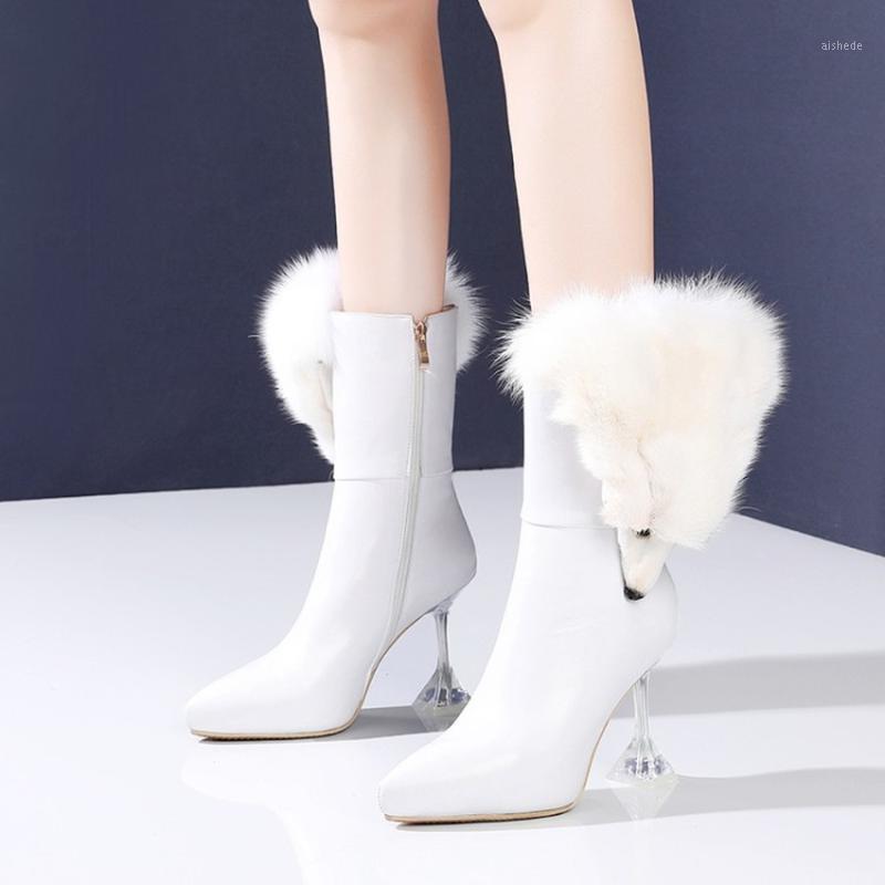 Stivali da donna Pointy Toe Pelle Genuina Pelle Vera Fur Arredamento Strano Strange High Clear Red Wine Shoes Glass Shoes 3Colors1