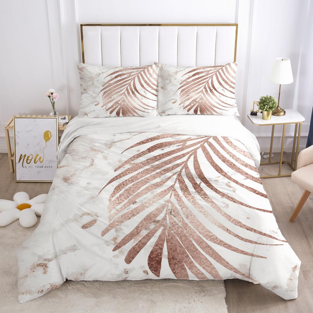 Luxury Bedding 3D HD Printed Duvet Set Pillowcases Comforter Quilt Blanket Cover Queen/King Nordic leaves Q1202