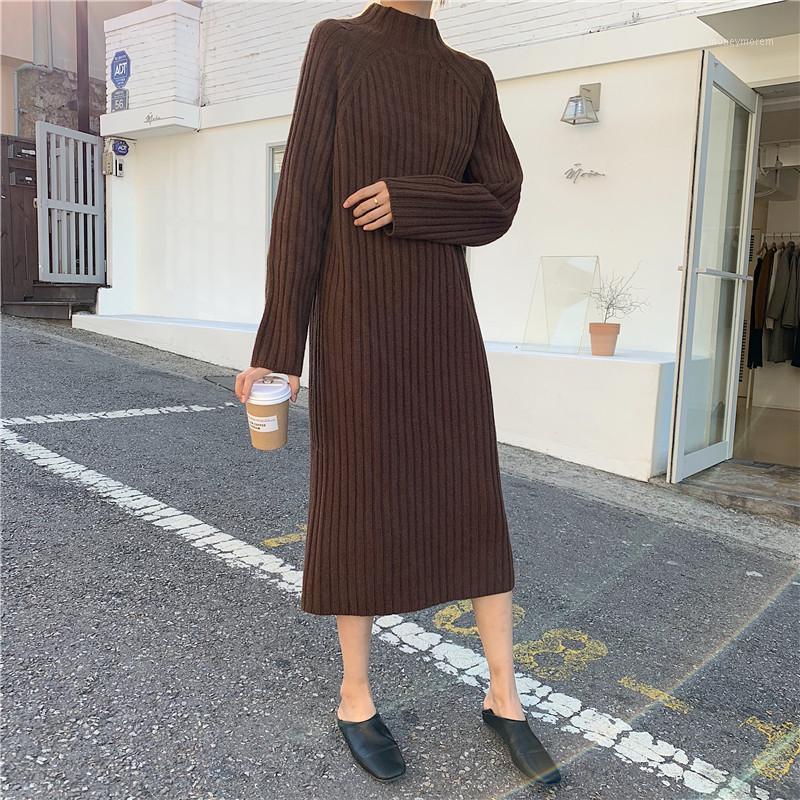 Vestido de suéter de lana Mujeres de punto Manga larga Turtinecen Sólido Flojo 2020 Otoño Invierno Oficina de Moda Damas Vestidos de base femenina1