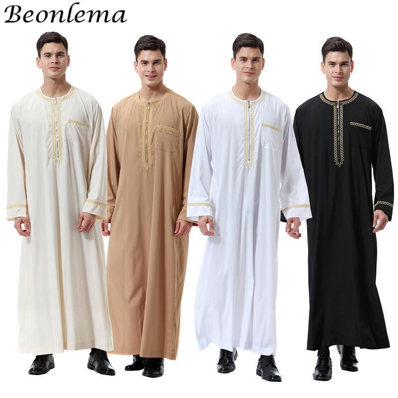 민족 의류 Beonlema O-Neck 아랍어 Abaya Musulman Homme Dubai Kaftan Long Sleeves 성인 Jubba Thobe Pakistan 남자기도 의류