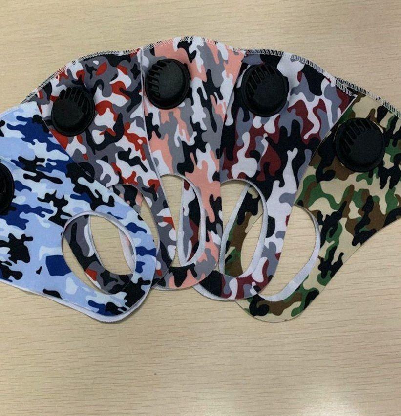 маскировка маска для взрослых Открытый Противопыльный Велоспорт маска для лица моющийся Face Cover Спорт Camo вентиляционный клапан Face Mask новый дизайн LJJK W0NT #