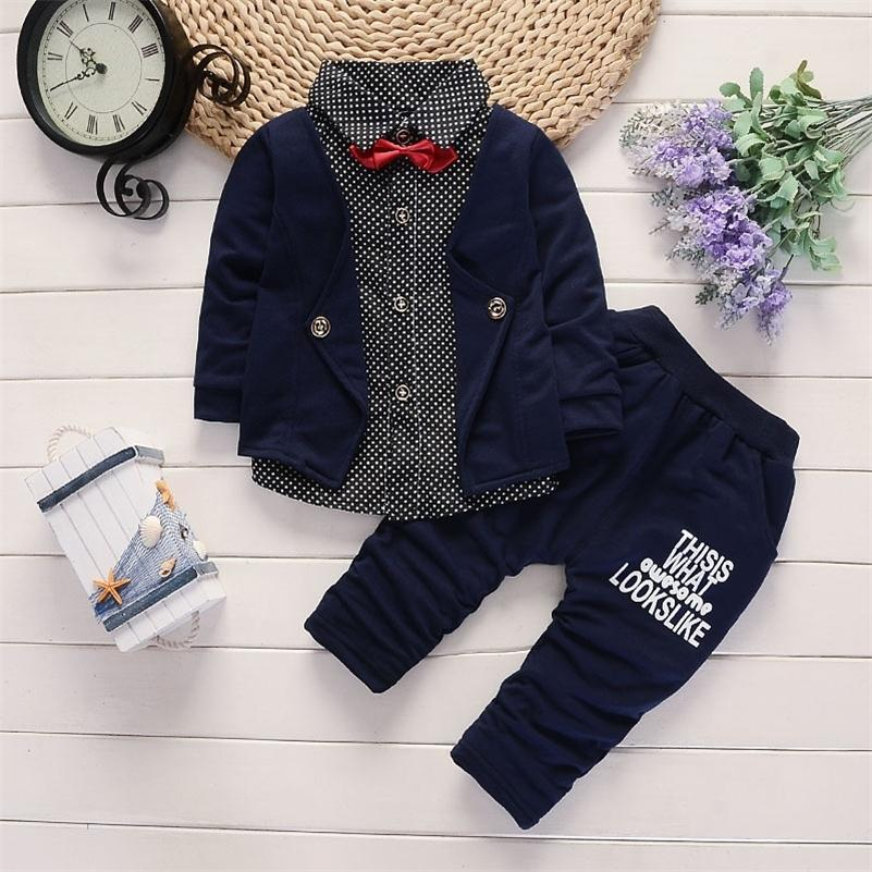 Baby boy clothes spring and autumn new children's clothes lapel polka dot shirt two-piece suit boy casual long-sleeved suit LJ201023