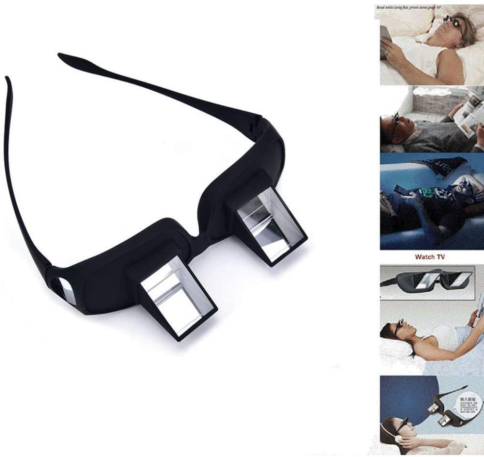 Yatay Tembel Gözlük 90 ° Açı Yalan Aşağı Yatak Okuma Prizma Gözlük Yüksek Tanımlı Tembel Reders Gözlük