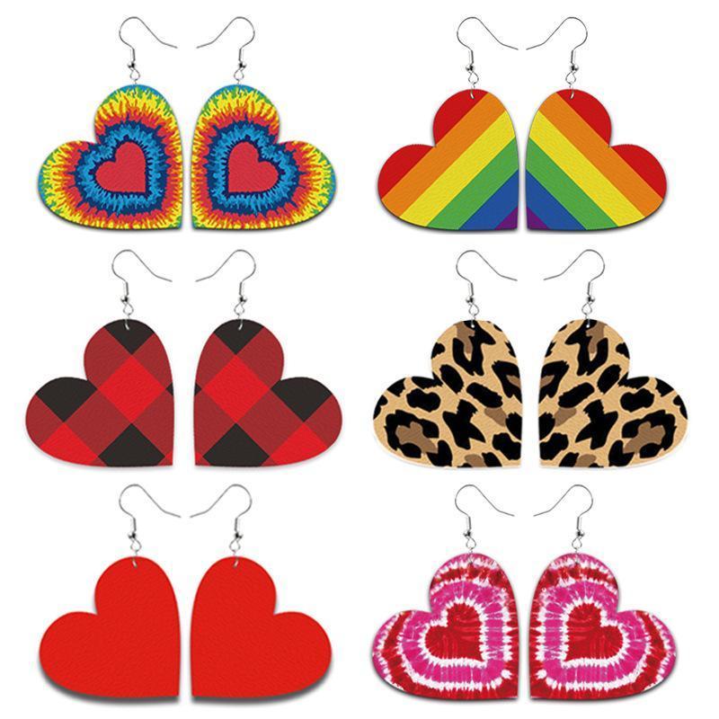Orecchino in pelle a forma di cuore Leopard per le donne Handmade Leggero Leggero Erecchino di San Valentino Dichiarazione Plaid Plaid Dangle Orecchini