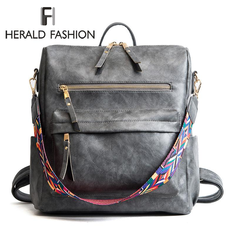 Herald Fashion Bohemia Style Shoulder Bag PU Leather Travel Backpack High Quality School Bag for Girls Sac a Dos Feminina Q1105