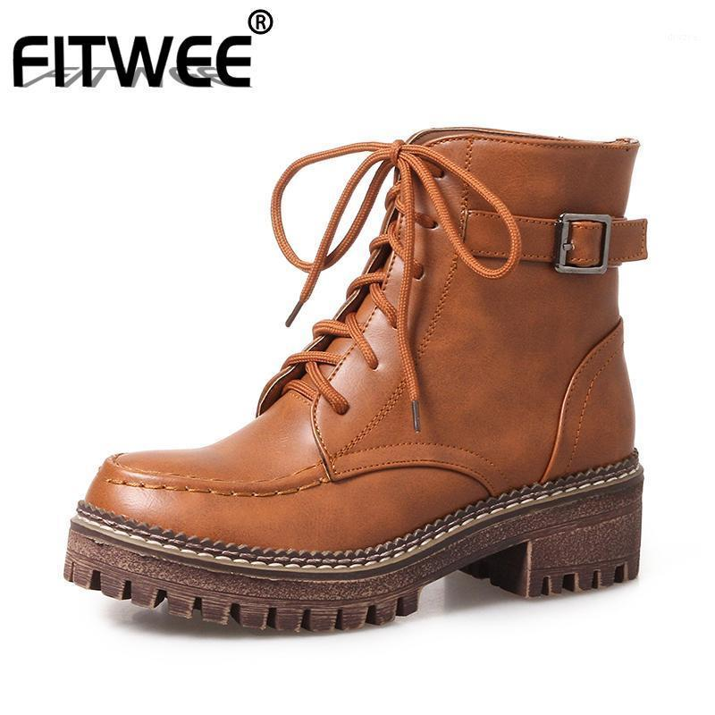 FITWEE Size 33-43 Women Ankle Boots Fashion Buckle Cross Strap Winter Shoes Woman Platform Short Boot Lady Daily Footwear1