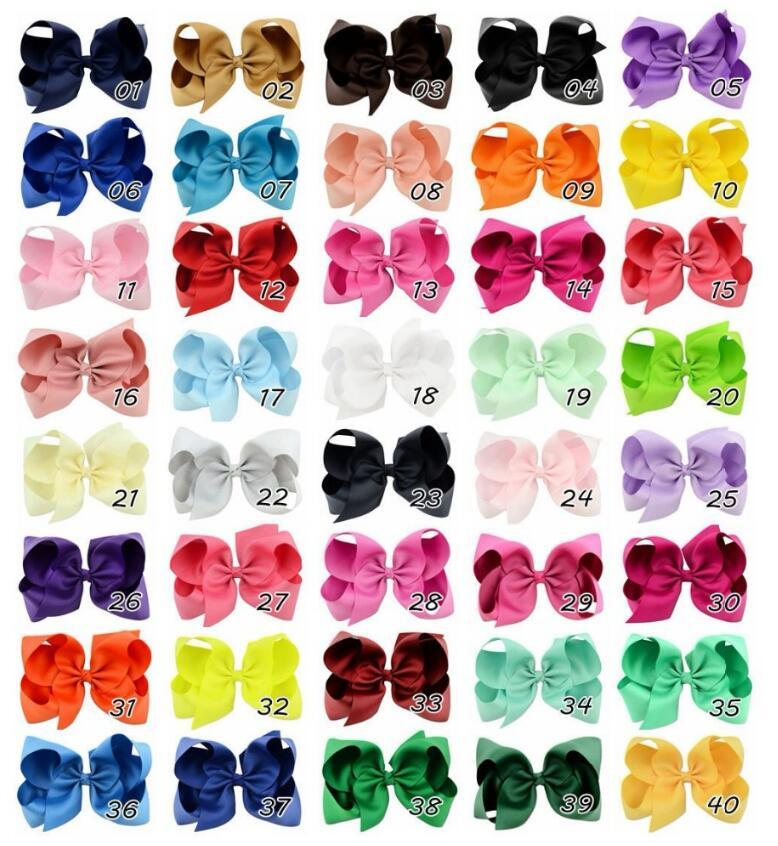 170pcs/lot 3.3-3.5 '' Ribbon Bows with Clip,solid color bows clip,baby hair bow,boutique hair accessories girls hair clips