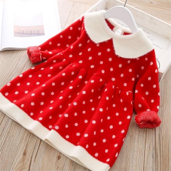 New Baby Girls vestido otoño cálido de manga larga de manga larga vestido de punto para bebés otoño invierno ropa para niños vestido de niñas 1027