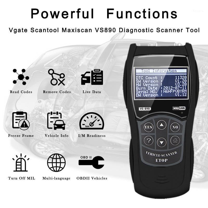 DTCS Diagnostics de voitures Scanner VS890 Scanner de voiture Support OBD OBDII Diagnostic Codes de diagnostic Lire les scanners multilingues Tool1