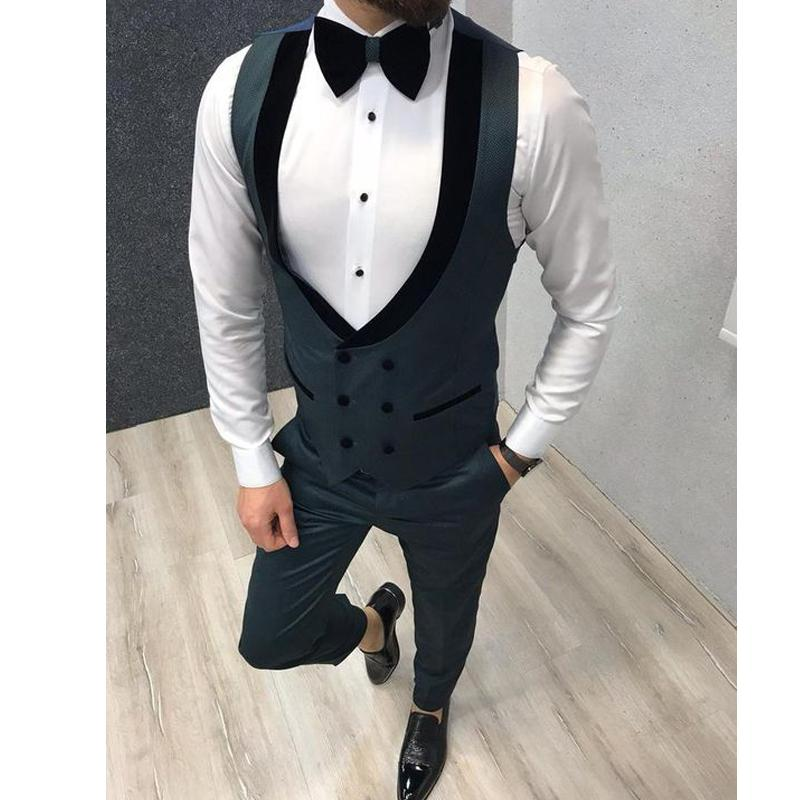 Slim Fit Custom Made double boutonnage Noir Lapel mariage Gilets de Groom Gilet Homme Hommes Gilet Party