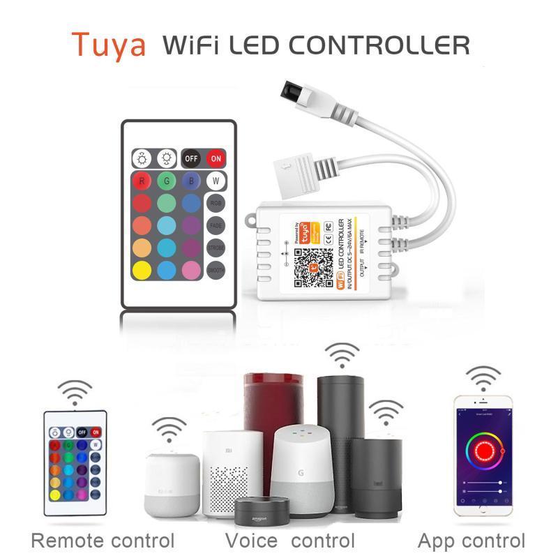 Contrôleurs à télécommandes LED Bande Contrôleur de lumière pour RGB / RGBW 24 Key IR WiFi TUYA App contrôle de contrôle avec Alexa Google