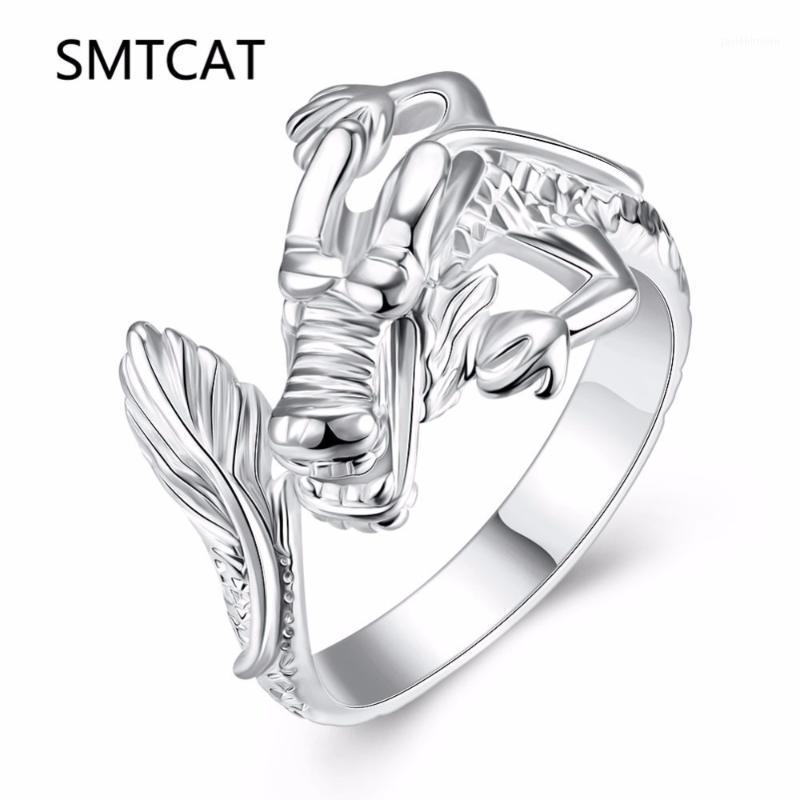 Smtcat Dragon Ring Personality Esagerato Argento colore Dragon Ring Fashion Open Men's Anelli Dominering Head1