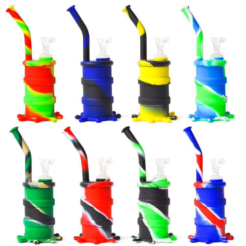 2017 neue ankunft mini silikontrommel wasser pipe glasbongs glas wasserleitung sieben farben für die choice dhl freies verschiffen