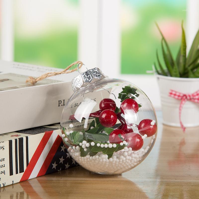 Рождественские украшения 1 шт. 8 см Рождественское дерево прозрачный висит мяч четкие пластиковые украшения подвески домой для подарков1