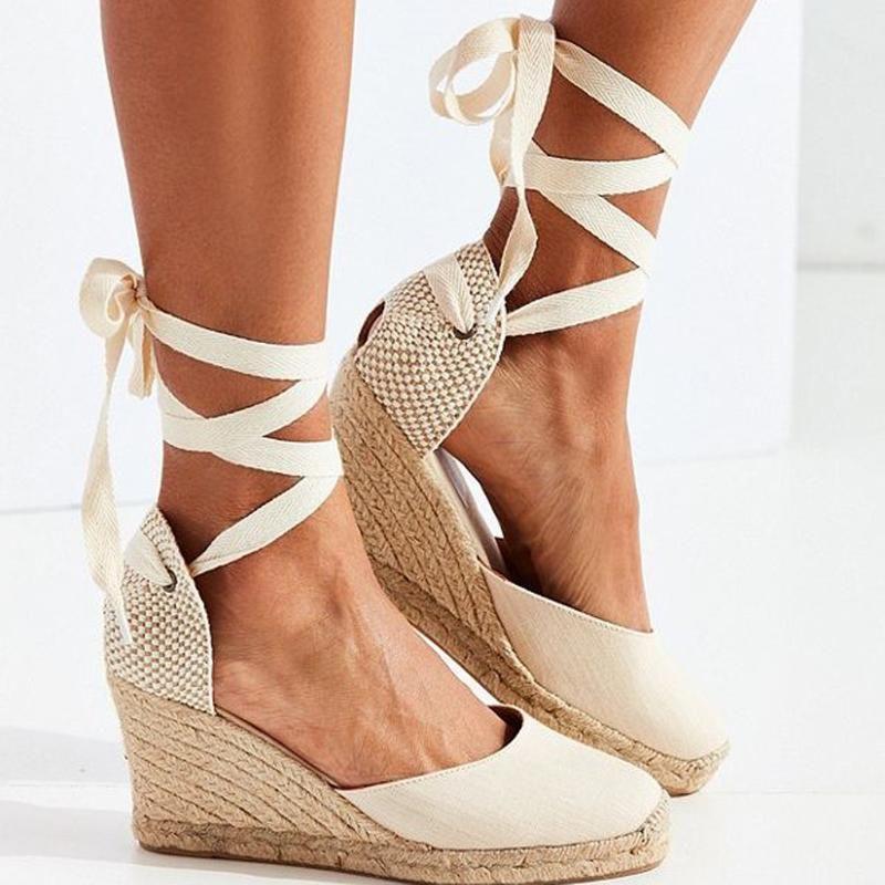 Sandalias de la correa de los tobillos de la espadrille de las mujeres cómodas zapatillas para mujer zapatos casuales zapatos casuales de lona transpirable bombas de lona