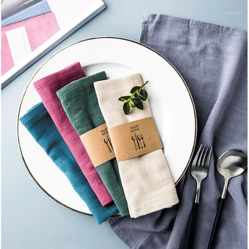 Таблица салфетки хлопчатобумажная льняная ткань полиэстер носовой платок закусочная вечеринка Кубок посуды Placemat украшения коврики домашний текстиль1
