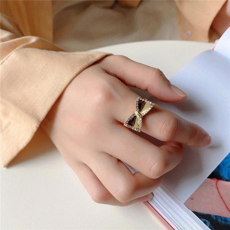 YPAY 100% auténticos 925 anillos ajustables de plata esterlina para Mujeres Niñas Corea del INS nudo del arco de circón anillo abierto joyería fina YMR1063 ye3Y #