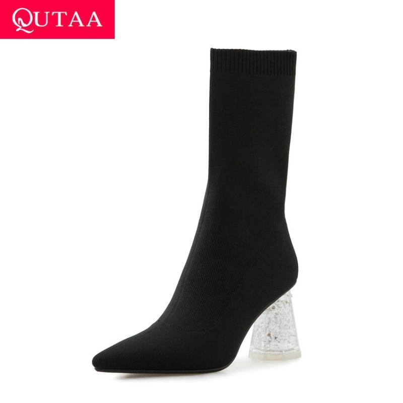 QUTAA 2021 Stretch Stricken Spitzschuh Slip-on Kurze Stiefel Transparent-Platz High Heel Mode Frauen Schuhe große Größen-34-43