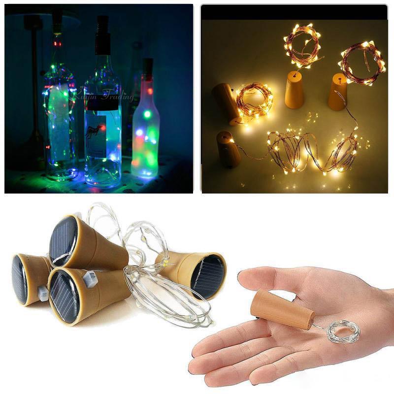 Girban 10 LED 솔라 와인 병 마개 구리 요정 스트립 와이어 야외 파티 장식 참신 야간 램프 DIY 코르크 빛 문자열