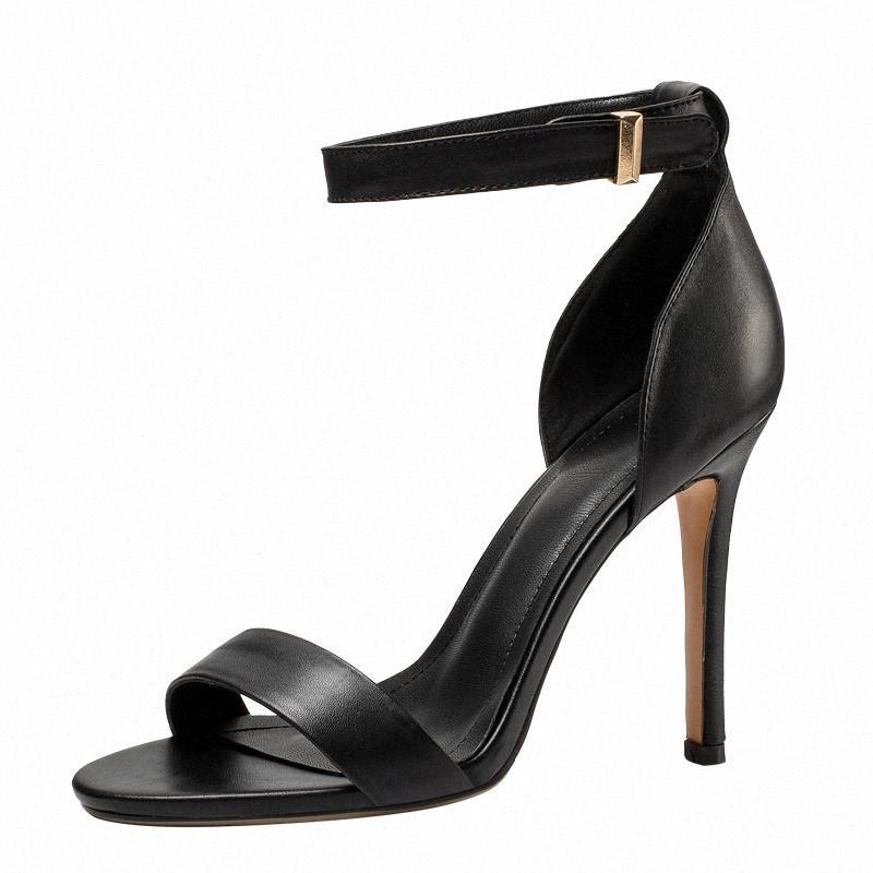 Shumehut летние женщины сандалии сексуальные леди натуральные кожаные шпильки элегантный открытый носок черный белый лодыжник ремень высокий каблук обувь M006 # 251V