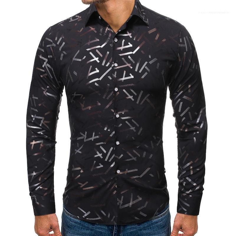 Casual manches longues hommes vêtements chauds estampage imprimé homme designeur chemises mode simple poitrine hommes chemises occasionnelles
