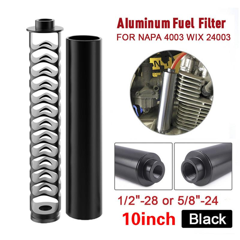 10 inch Spiral 1/2-28 5/8-24 Single Core Aluminum Tube Car Fuel Filter Solvent Trap For NAPA 4003 WIX 24003 Filters