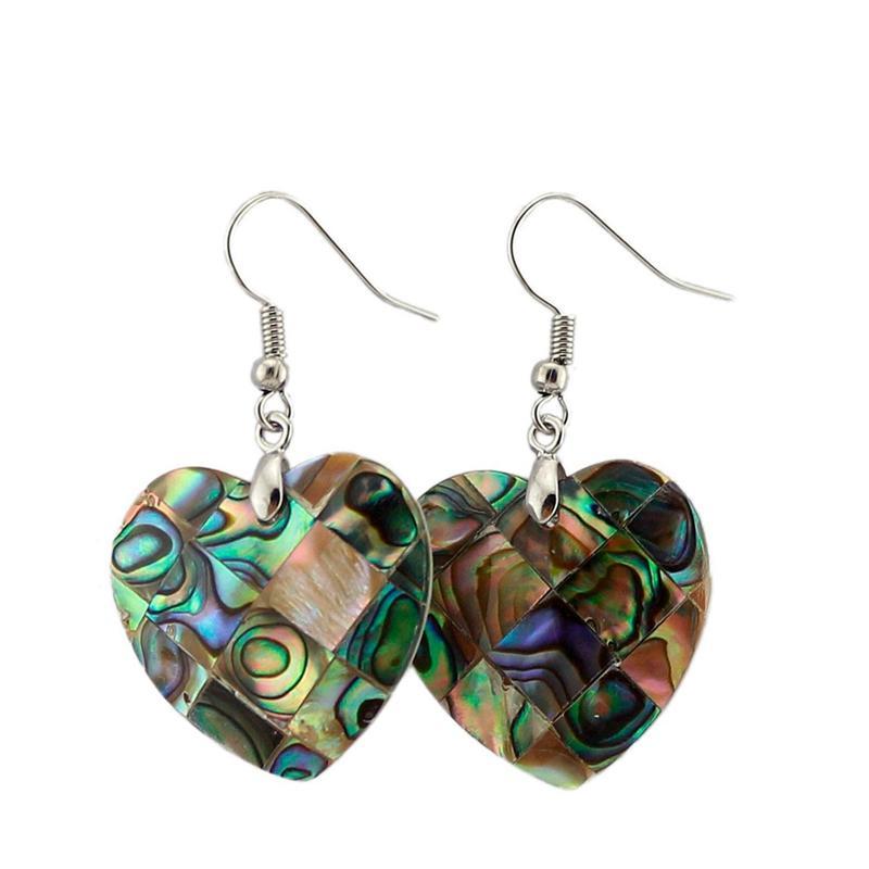 Neuseeland Natürliche Abalone Muscheln Stilvolle Baumeln Ohrringe Liebe Herzförmige Hanghaken Mode Charme Frauen Anhänger Ohrring Reiki Heilende Schmuck