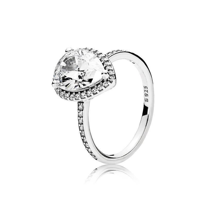 Echte 925er Sterling Silber Tränenabfall CZ Diamantring mit Logo und Original Box Fit Pandora Ehering Engagement Schmuck für Frauen