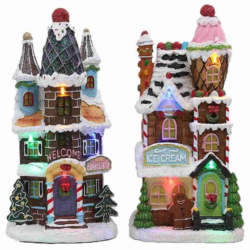 Aydınlatma Noel Bebek Heykelcik Yapay Ağaç Tiny Ev Köyü, LED Işık Dekoratif Noel Evi
