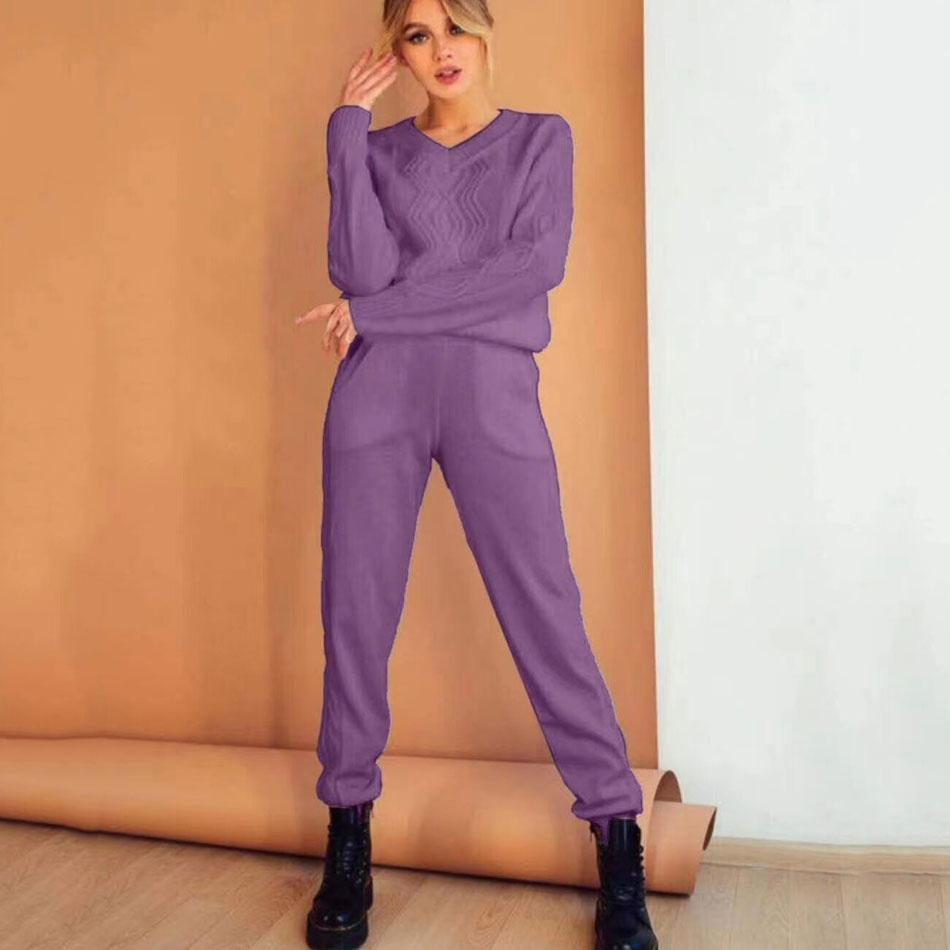 2020 Herbst und Winter der neuen Frauen Gestrickte beiläufige 2 Zweiteilige gesetzte Art und Weise Pullover + Haremshosen Home Service Sport Anzug