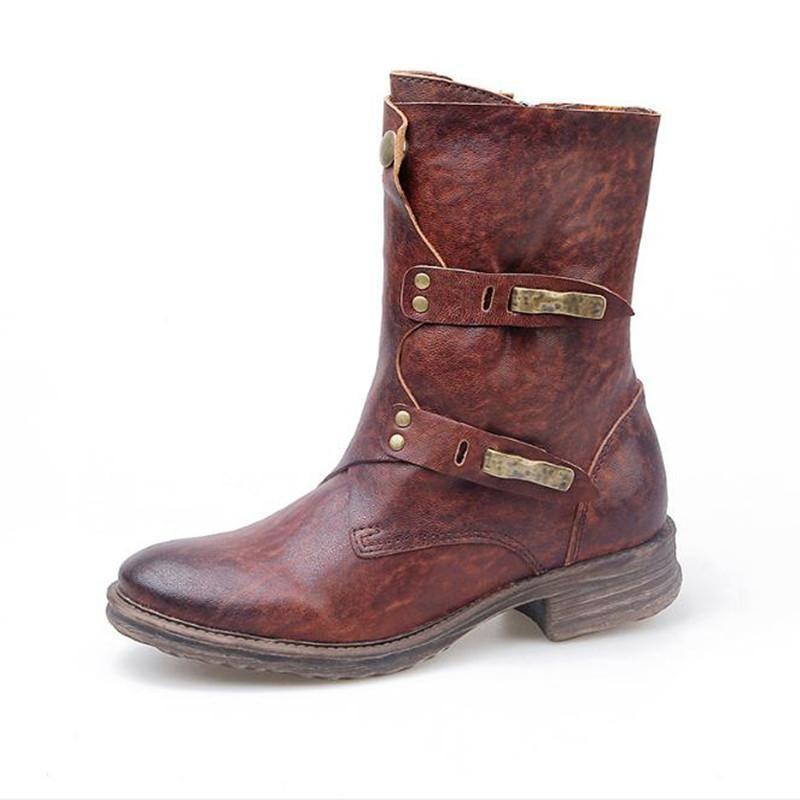 Handmade Mulheres Botas Outono Inverno Brown couro genuíno Casual tubo botas grossas Soled Mid Senhoras Retro Preto Sapatos Botas