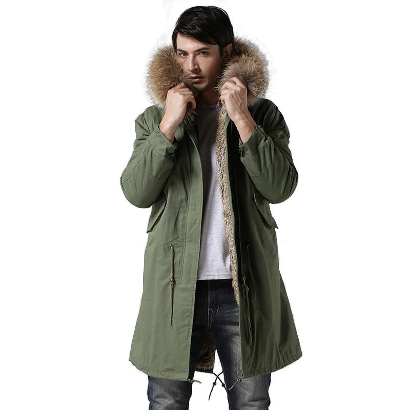 Moda de alta gama Italia estilo faux conejo piel de forro abrigos de mapache real chaqueta de cuello de piel invierno hombres piel de piel tienen bolsillos T200110