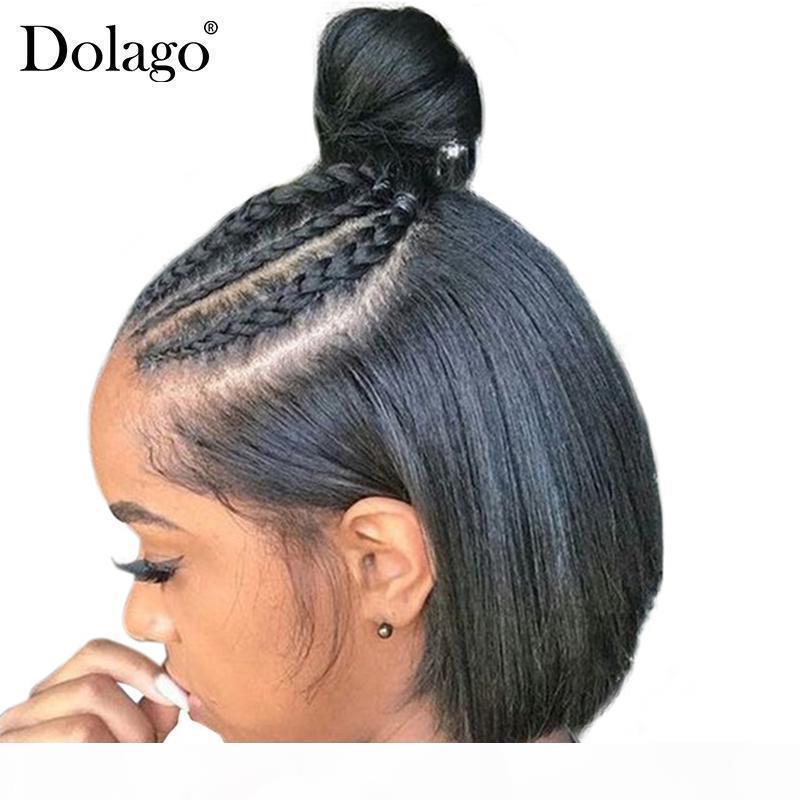 250 Densità Bob parrucca capelli lisci Bob pizzo anteriore parrucche 13x4 pizzo brasiliano anteriore umana Bob parrucche per Black Women Dolago