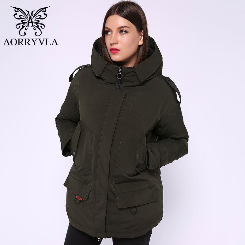 Aorryvla yeni kış kadın kış ceket kısa 5 renkler katı kapüşonlu pamuk yastıklı kadın ceket sıcak casual kadın parka 210203
