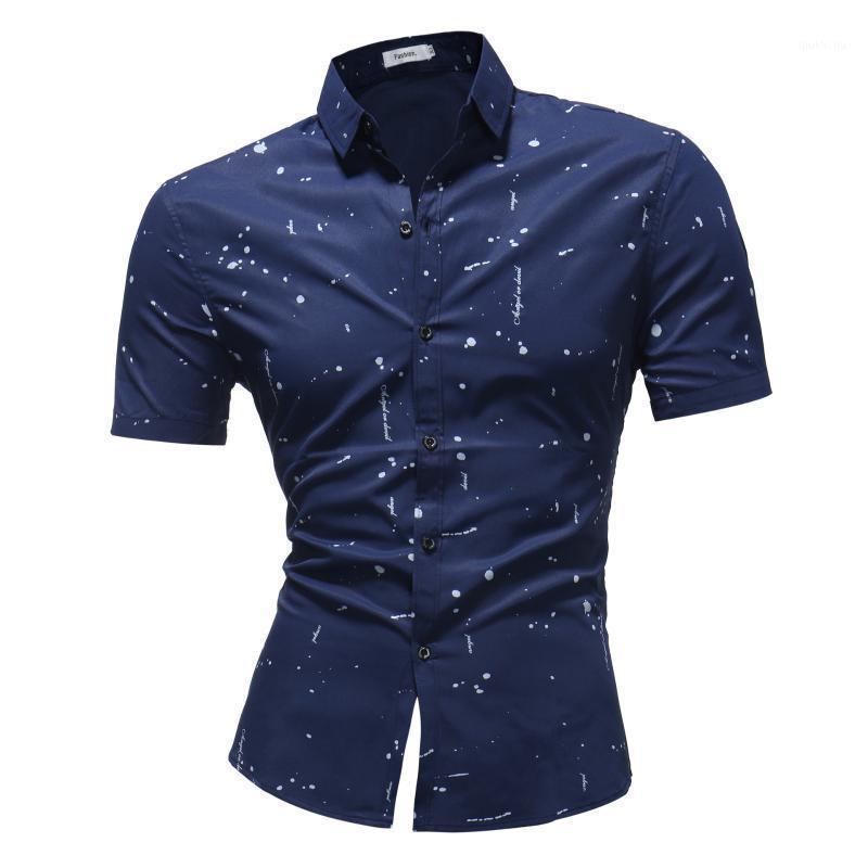 Chemise de style coréen Polka Dot Homme Solide Print Slim Fit Robe Chemise à manches courtes Collier Summer Camisa Masculina1