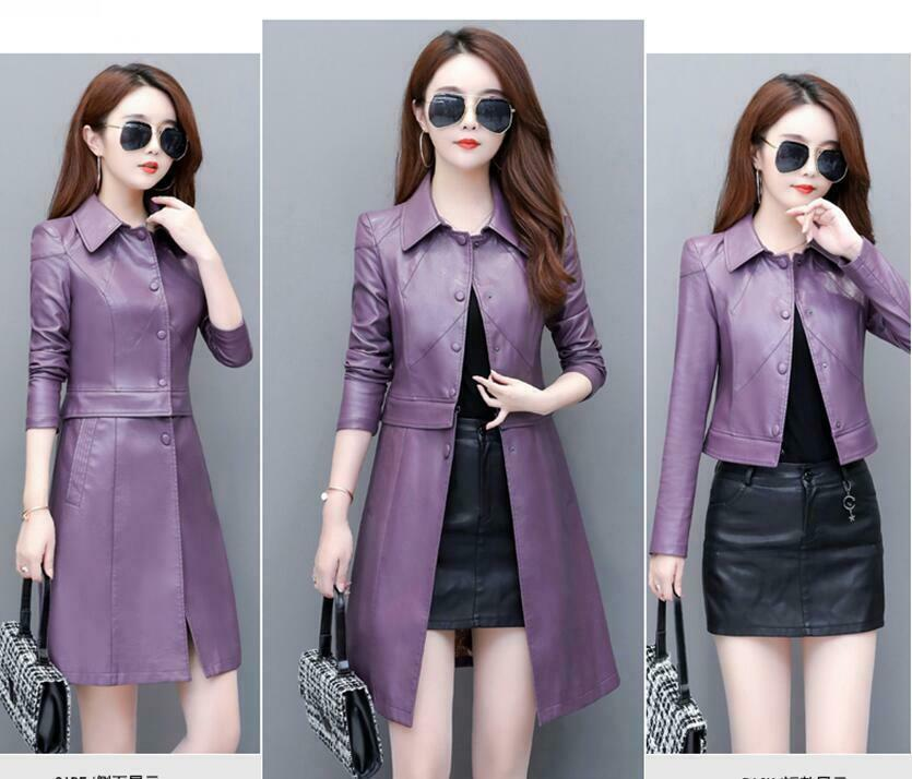 Women's Faux Leather Jacket Long Coat Casual Tops Single-breasted Outerwear