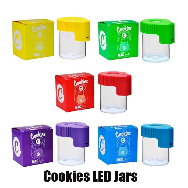 Casi luce Cookies LED Tabacco Contenitore Medicina ricaricabile scatola di vetro Vasi Dab Wax 155ml bagagli secco Herb rotolamento Cigarette Glow MAG