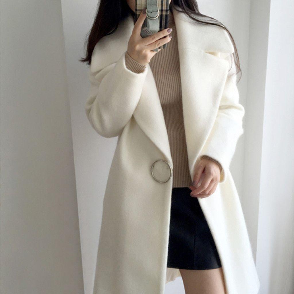 Mujer de lana blanca abrigo de soltero manga larga tela de lana casual abrigo de longitud media cuello abrigo abrigos de invierno mujeres nuevo lj201110
