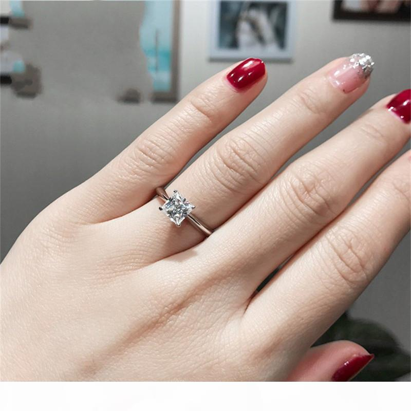 Classic Real Solid 925 Sterling Silver Ring 2Ct Princess-cut SONA Diamond Wedding Jewelry Rings Engagement For Women