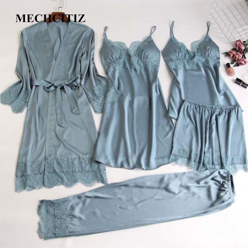 Mechcitiz 5 peças de seda pijama conjuntos de mulheres cetim sleepwear calças de veste outono pijamas roupão sexy lingerie laço inverno pijama y200107
