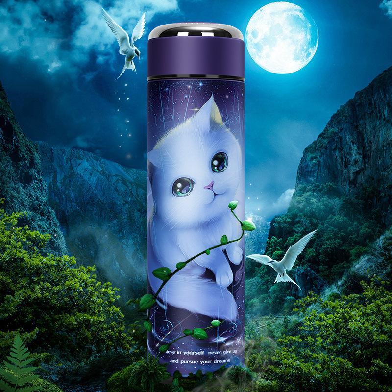 Zooobe Nouveau produit 500ml mignon thermos bouteille 304 mur double mur en acier inoxydable Flacon isolé ThermoCup VOYAGE Tasse à café LJ201218