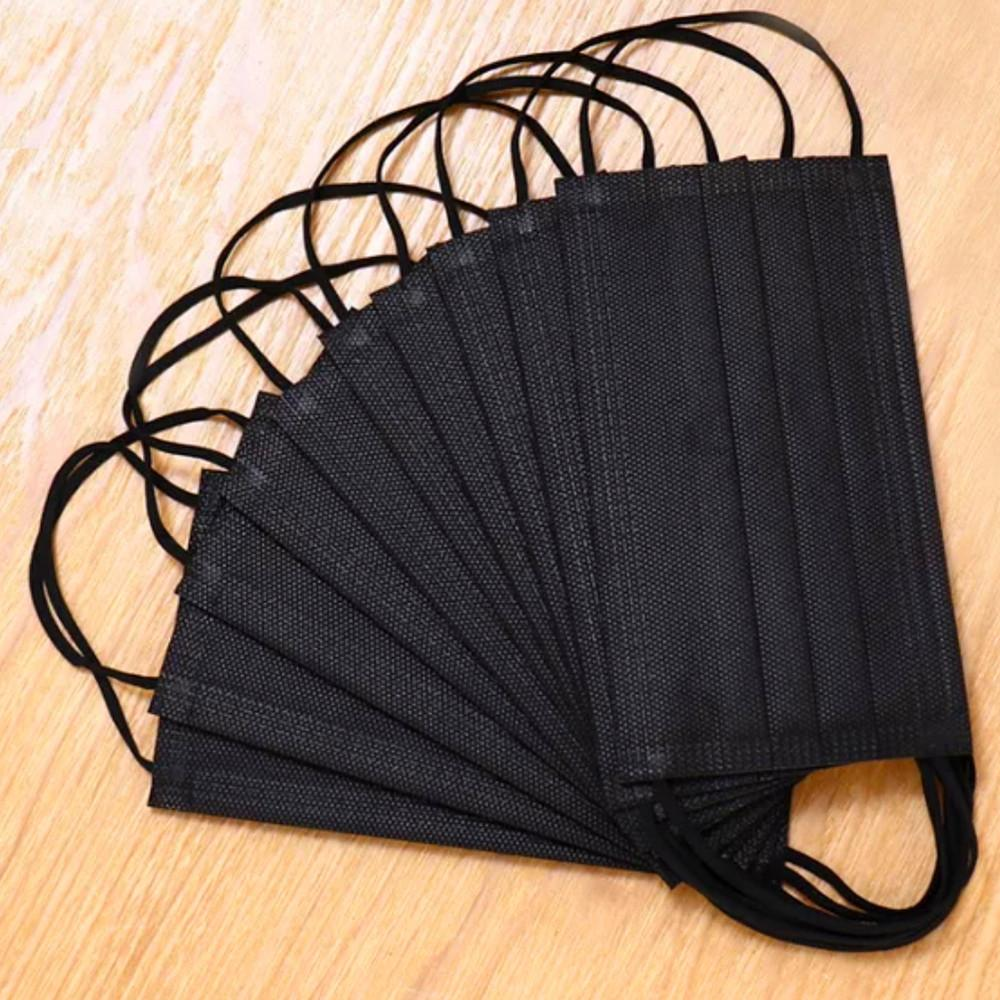 kn 95 masque adulte dhl Livraison gratuite Masques noirs à usage unique visage bouche visage extérieur Masques sanitaires 3-couche Masque de protection avec Earloop pm