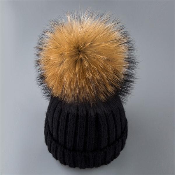 100% vera pelliccia di pelliccia di procione pompon donna inverno cumulies berretto con grande procione pipon ponpon pompon pompon femminile pumpon maglia beaniesx1023