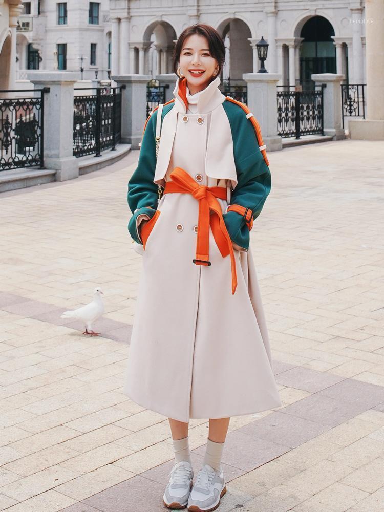 2020 осенью и зимняя корейская версия шерстяного пальто женской двубортной тонкой шерстяной шерстяной шерсти толщиной теплой1